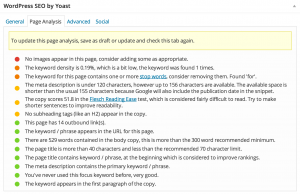 Yoast SEO Page Analysis