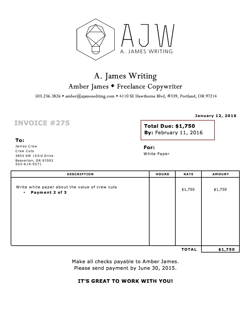 sample freelance invoice