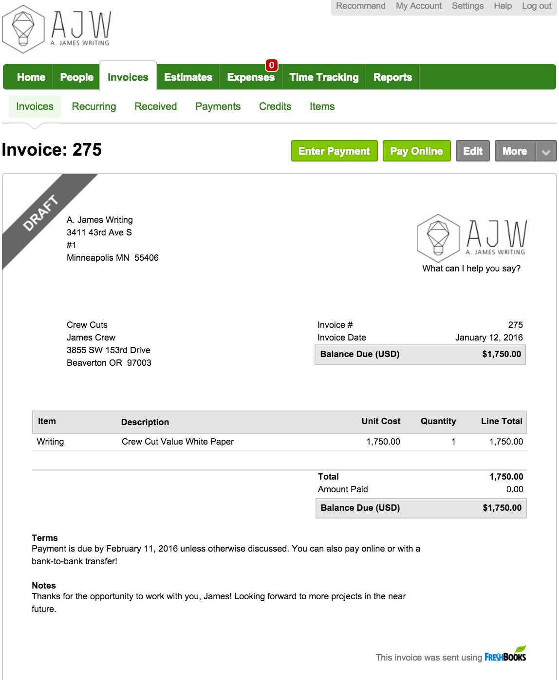 Opportunitycaus  Stunning What A Freelance Invoice Looks Like With Engaging Freshbooks Invoice Example With Alluring How To Create An Invoice In Quickbooks Also Over Invoicing And Under Invoicing In Addition Personal Invoice And Outstanding Invoice Definition As Well As Film Invoice Template Additionally Handyman Invoice From Portlandcopywriterscom With Opportunitycaus  Engaging What A Freelance Invoice Looks Like With Alluring Freshbooks Invoice Example And Stunning How To Create An Invoice In Quickbooks Also Over Invoicing And Under Invoicing In Addition Personal Invoice From Portlandcopywriterscom